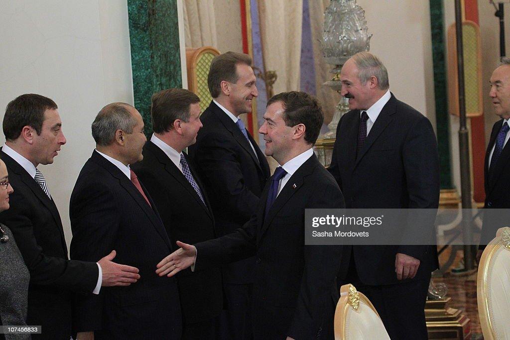 Russian President Dmitry Medvedev Belarus's President Alexander Lukashenko and Kazakh President Nursultan Nazarbayev attend the session of the...