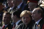 Russian President Dmitry Medvedev China's President Hu Jintao German Chancellor Angela Merkel Russian Prime Minister Vladimir Putin attend the...