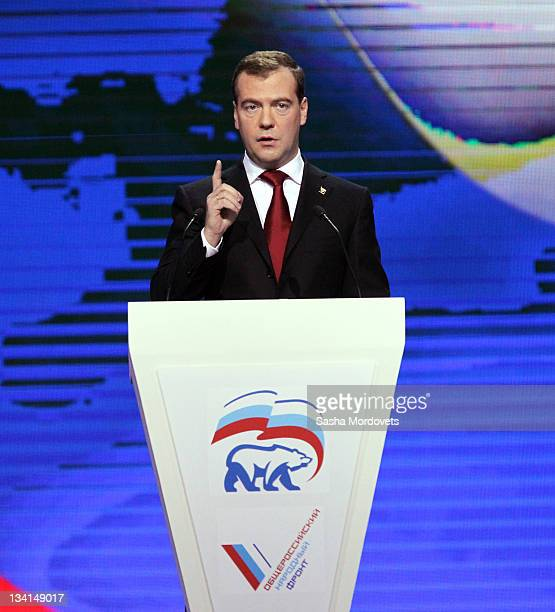 Russian President Dmitry Medvedev delievers a speech to the congress of the United Russia Party November 2011 in Moscow Russia PM Vladimir Putin...