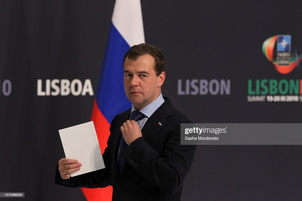 Russian President <a gi-track='captionPersonalityLinkClicked' href=/galleries/search?phrase=Dmitry+Medvedev&family=editorial&specificpeople=554704 ng-click='$event.stopPropagation()'>Dmitry Medvedev</a> delivers a speech during a press conference during day two of the NATO Summit at Feira Internacional de Lisboa (FIL) on November 20, 2010 in Lisbon, Portugal. The two day summit will address issues including a new strategic concept for NATO. Britain and the US will also seek an agreement to hand over responsibility for security in Afghanistan to local forces over the next four years.