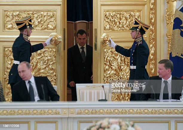 Russian President Dmitry Medvedev enters the hall during the session of the State Council in Kremlin December 26 2011 in Moscow Russia Dmitry...