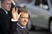 Russian President Dmitry Medvedev greets the press upon his arrival at Jose Marti International Airport November 27 2008 in Havana Cuba Medvedev is...