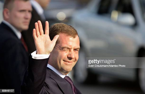 Russian President Dmitry Medvedev greets the press upon his arrival at Jose Marti International Airport November 27 2008 in Havana Cuba Medvedev is...