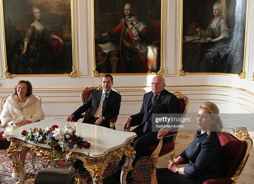 Russian President Dmitry Medvedev his spouse Svetlana Medvedeva Czech President Vaclav Claus and his wife Livia Rosamunda Clausova sit during a...