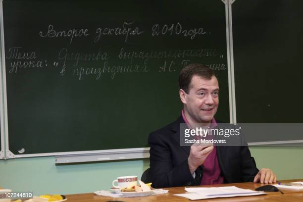 Russian President Dmitry Medvedev is seen in a classroom during his visit to a primary school outside of Sochi on December 2010 in the Black Sea...