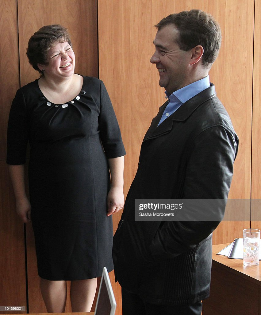 Russian President <a gi-track='captionPersonalityLinkClicked' href=/galleries/search?phrase=Dmitry+Medvedev&family=editorial&specificpeople=554704 ng-click='$event.stopPropagation()'>Dmitry Medvedev</a> is seen visiting a social and education center for retirees during his during his trip to Kursk region on September 24, 2010, 500 km South of Moscow, Russia. Medvedev is on a one-day trip to Kursk region to talk about raising living standards of the elderly members of the community.