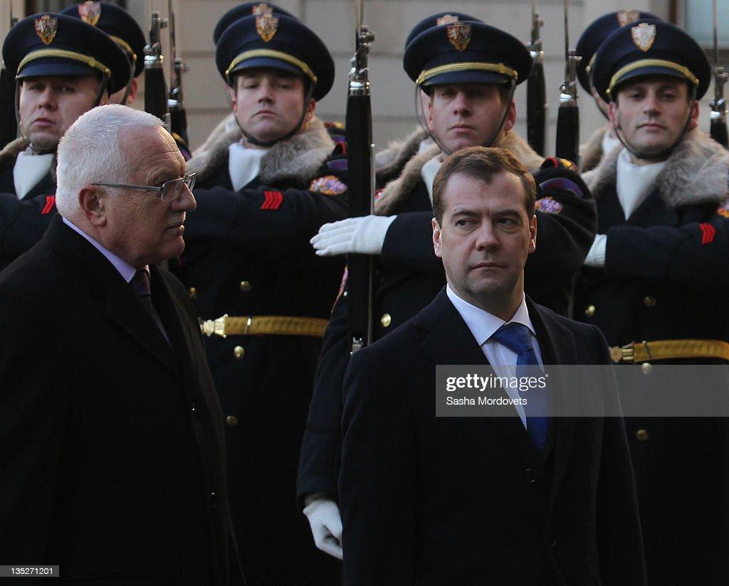 Russian President Dmitry Medvedev listens to Czech President Vaclav Claus during their meeting on December 8 2011 in Prague Czech Republic Medvedeva...