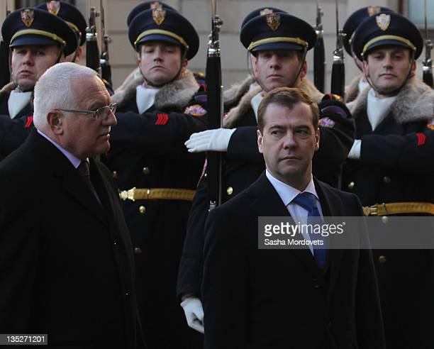 Russian President Dmitry Medvedev listens to Czech President Vaclav Claus during their meeting on December 8 2011 in Prague Czech Republic Medvedeva...