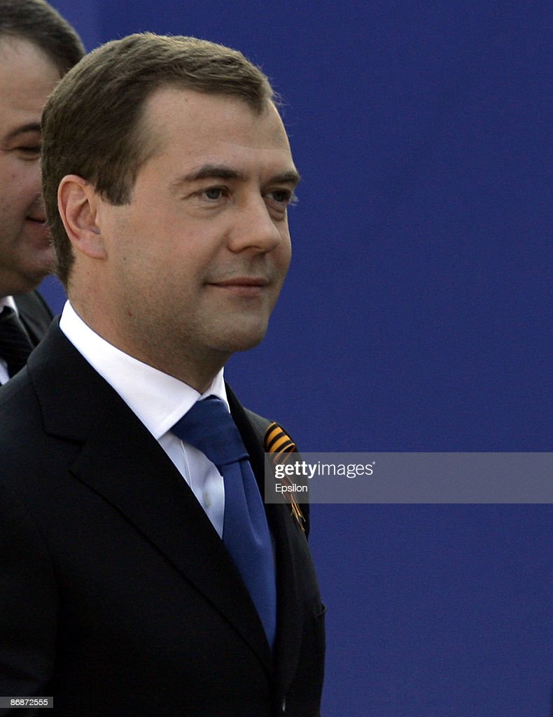 Russian President Dmitry Medvedev looks on during the nation's Victory Day parade in commemoration of the end of WWII at the Red Square on May 09, 2009 in Moscow, Russia. The ceremony commemorates Victory Day of May 9, 1945 on which the World War II Allies' achieved victory over and unconditional surrender of Nazi Germany's armed forces.