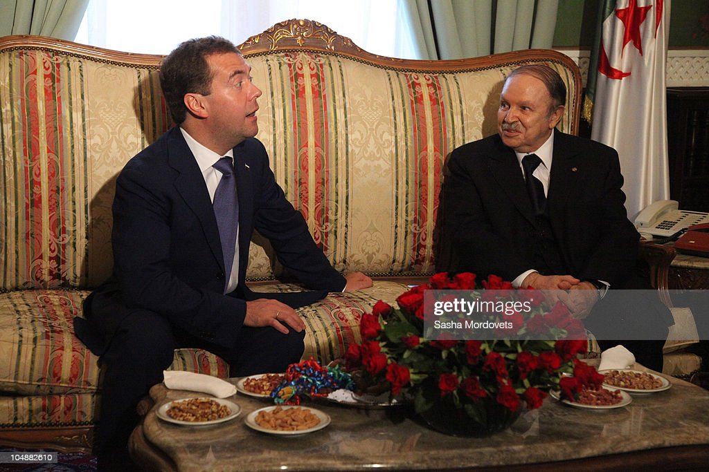 Russian President <a gi-track='captionPersonalityLinkClicked' href=/galleries/search?phrase=Dmitry+Medvedev&family=editorial&specificpeople=554704 ng-click='$event.stopPropagation()'>Dmitry Medvedev</a> (L) meets Algerian President <a gi-track='captionPersonalityLinkClicked' href=/galleries/search?phrase=Abdelaziz+Bouteflika&family=editorial&specificpeople=176720 ng-click='$event.stopPropagation()'>Abdelaziz Bouteflika</a> October 6, 2010 in Algiers, Algeria. Medvedev is on a one-day state visit to Algeria to discuss energy and telecoms deals.