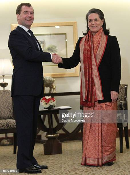 Russian President Dmitry Medvedev meets Indian Government Chairperson Sonia Gandhi on December 2010 in New Delhi India Medvedev is on a threedays...