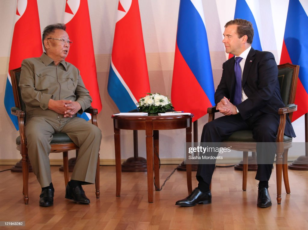 Russian President <a gi-track='captionPersonalityLinkClicked' href=/galleries/search?phrase=Dmitry+Medvedev&family=editorial&specificpeople=554704 ng-click='$event.stopPropagation()'>Dmitry Medvedev</a> (R) meets North Korean leader Kim Jong Il ahead of talks on August 24, 2011 in the Eastern city of Ulan Ude, Russia. The leaders discussed economic co-operation and North Korea's nuclear programme.