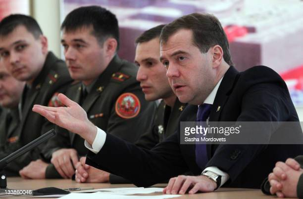 Russian President Dmitry Medvedev meets officers in the military unit of the Russian army on his one day trip to the Northern Caucaus on November 21...
