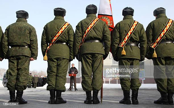 Russian President Dmitry Medvedev meets with missile regiment officers as he visits a missile regiment on February 21 2012 near Saratov about 800 km...