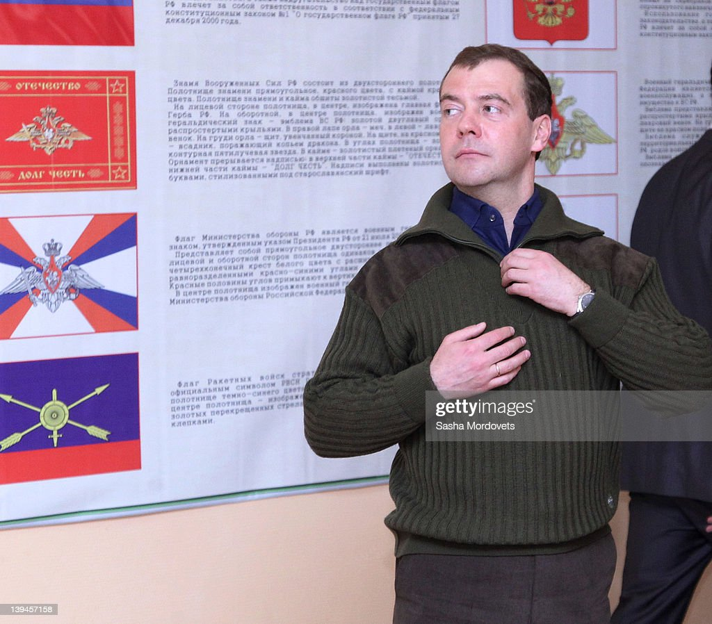 Russian President Dmitry Medvedev meets with missile regiment officers as he visits a missile regiment on February 21, 2012 near Saratov, about 800 km. South-East of Moscow, Russia. Medvedev is having a one-day trip to the region, a week prior to the Presidential Elections.