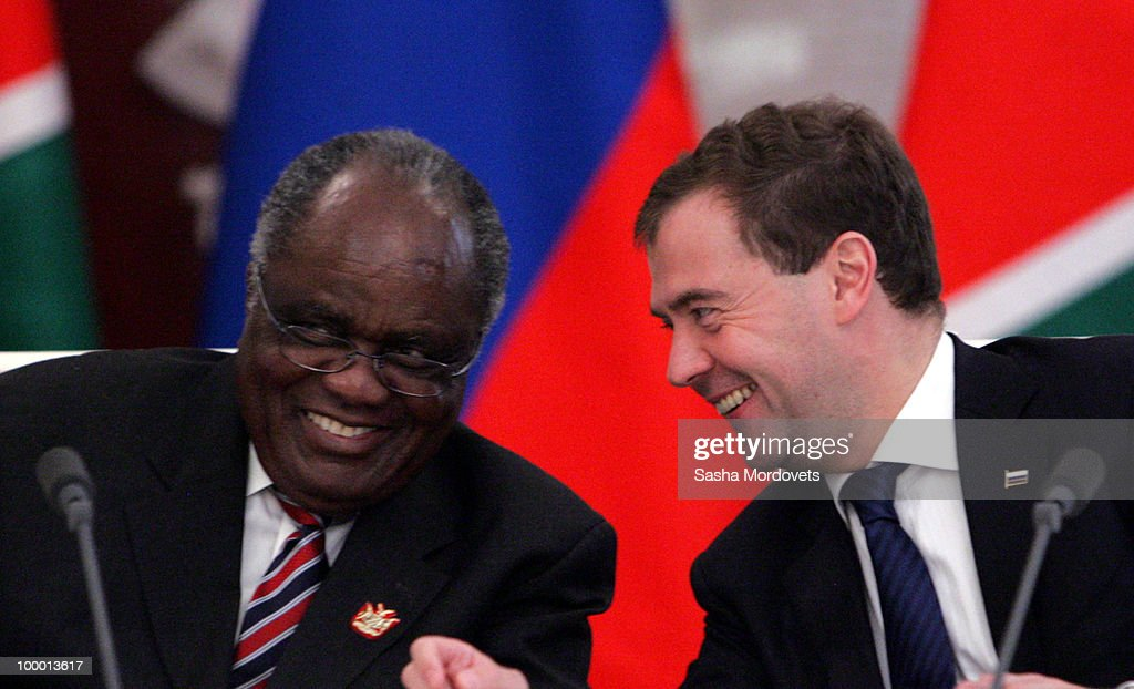 Russian President <a gi-track='captionPersonalityLinkClicked' href=/galleries/search?phrase=Dmitry+Medvedev&family=editorial&specificpeople=554704 ng-click='$event.stopPropagation()'>Dmitry Medvedev</a> (R) meets with Namibian President Pohamba at the Kremlin on May 20, 2010 in Moscow, Russia. Namibian President <a gi-track='captionPersonalityLinkClicked' href=/galleries/search?phrase=Hifikepunye+Pohamba&family=editorial&specificpeople=863215 ng-click='$event.stopPropagation()'>Hifikepunye Pohamba</a> is visiting to discuss Russia investing money into building up uranium deposits Namibia.