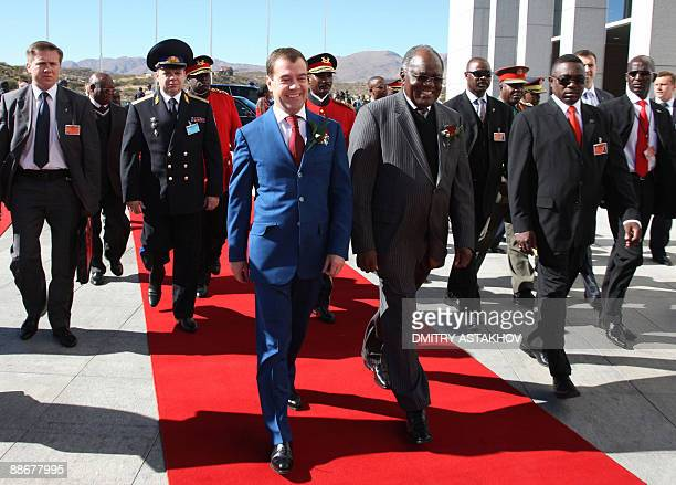 Russian President Dmitry Medvedev meets with Namibian President Hifikepunye Lucas Pohamba in Windhoek on June 25 2009Medvedev arrived in Namibia to...
