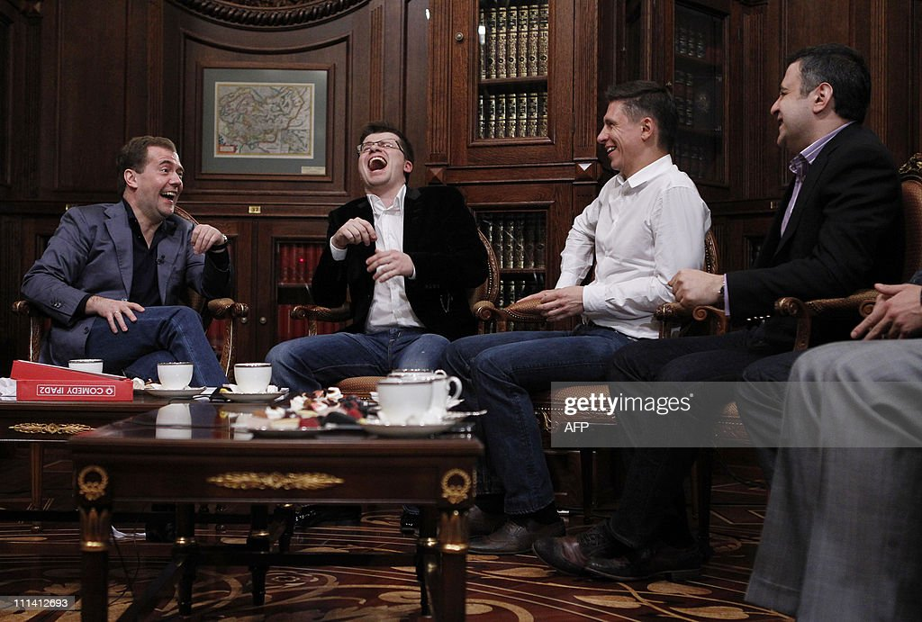 Russian President Dmitry Medvedev meets with participants of the Comedy Club a popular TV show at the Gorki residence outside of Moscow on April 1...