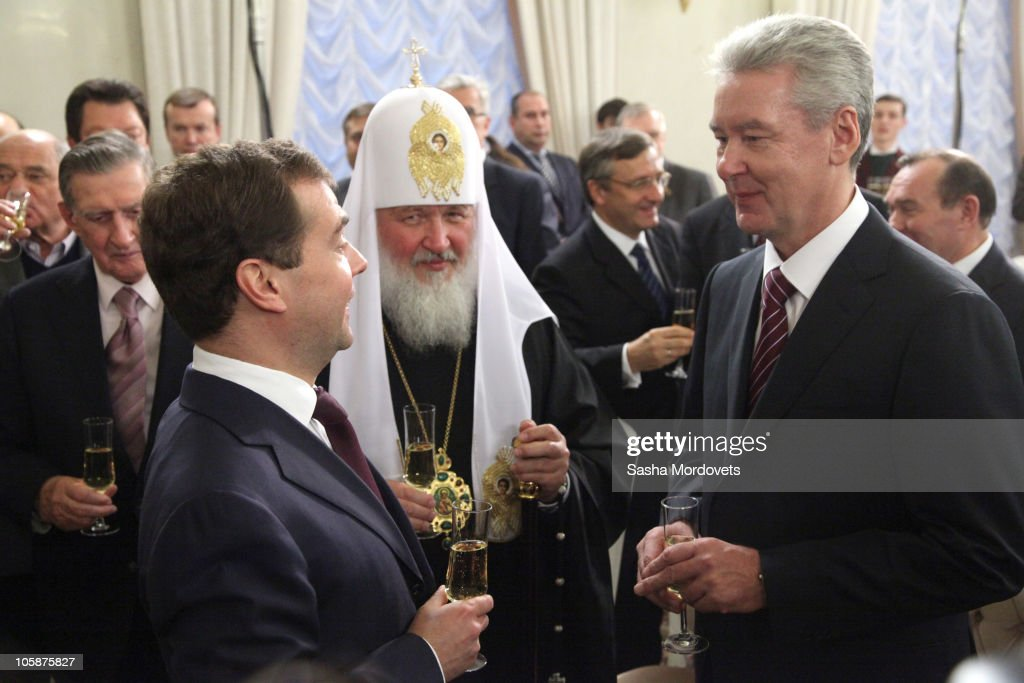 Russian President <a gi-track='captionPersonalityLinkClicked' href=/galleries/search?phrase=Dmitry+Medvedev&family=editorial&specificpeople=554704 ng-click='$event.stopPropagation()'>Dmitry Medvedev</a>, Orthodox Patriarch Kirill of Moscow and All Russia and new Moscow Mayor Sergei Sobyanin speak during an inauguration ceremony on October 21, 2010, in Moscow, Russia. Earlier in the day dozens of activists gathered for a rally in front of The Moscow City Duma to protest against Medvedev's nominee Sobyanin, as Moscow's new mayor. However Prime Minister Vladimir Putin's longtime chief of staff 52-year-old Sobyanin, has vowed to tackle the corruption of the capital as he was appointed today.