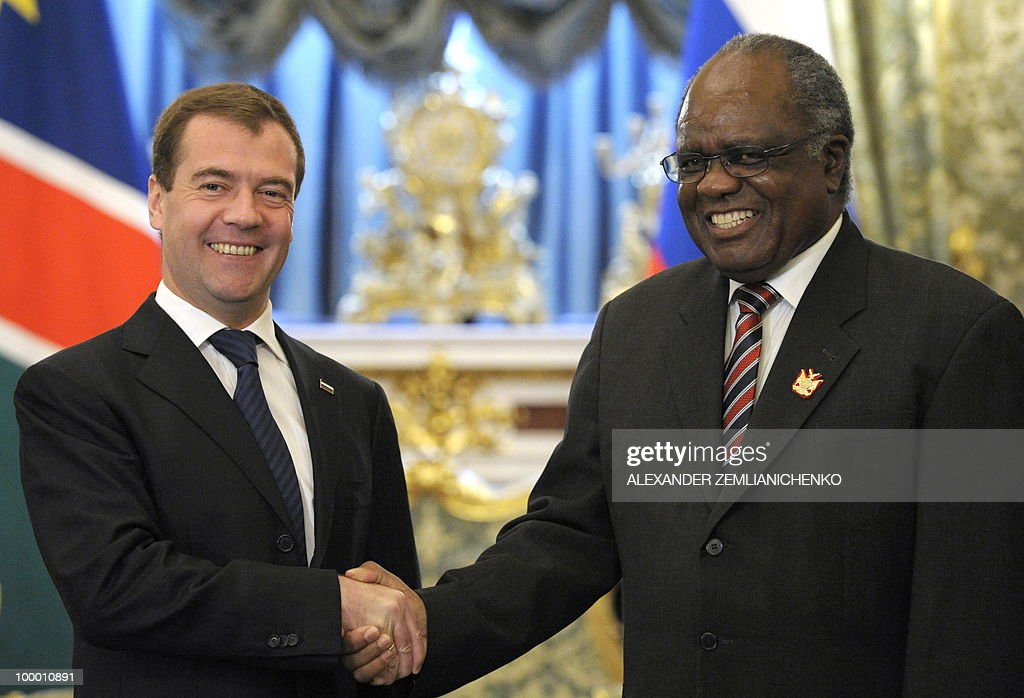 Russian President Dmitry Medvedev (L) shakes hands with Namibian President Hifikepunye Pohamba at the Kremlin in Moscow on May 20, 2010. Russia and Namibia signed an agreement on exploration and production of uranium which could lead to Moscow investing one billion dollars in the resource-rich southern African country, officials said.