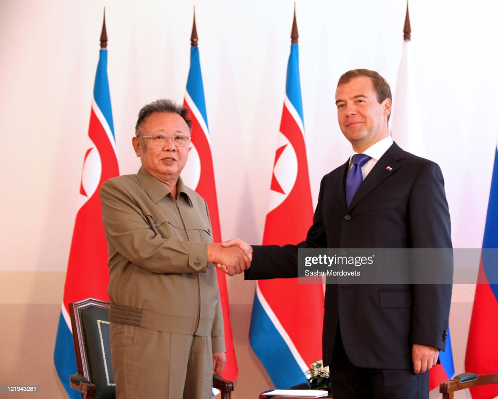 Russian President <a gi-track='captionPersonalityLinkClicked' href=/galleries/search?phrase=Dmitry+Medvedev&family=editorial&specificpeople=554704 ng-click='$event.stopPropagation()'>Dmitry Medvedev</a> (R) shakes hands with North Korean leader Kim Jong Il ahead of talks on August 24, 2011 in the Eastern city of Ulan Ude, Russia. The leaders discussed economic co-operation and North Korea's nuclear programme.