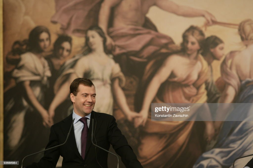 Russian President Dmitry Medvedev smiles while attending a joint press conference with Italian Prime Minister <a gi-track='captionPersonalityLinkClicked' href=/galleries/search?phrase=Silvio+Berlusconi&family=editorial&specificpeople=201842 ng-click='$event.stopPropagation()'>Silvio Berlusconi</a> (not pictured) at Villa Madama on December 3, 2009 in Rome, Italy. During his visit to Rome, Russia's President Dmitry Medvedev and delegates attended a meeting with Italy's Prime Minister <a gi-track='captionPersonalityLinkClicked' href=/galleries/search?phrase=Silvio+Berlusconi&family=editorial&specificpeople=201842 ng-click='$event.stopPropagation()'>Silvio Berlusconi</a> and delegates for the sixth round of discussions on economic cooperation between the two nations.