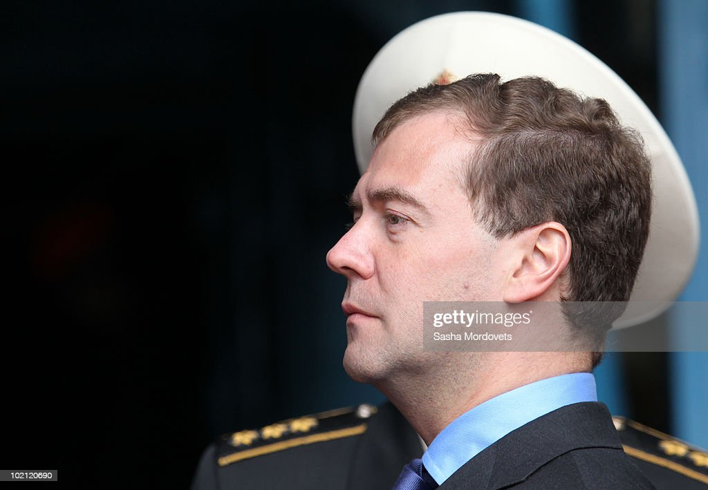 Russian President Dmitry Medvedev speaks during a ceremony to launch the multipurpose nuclear submarine 'Severodvinsk' at the Sevmash shipyard June 15, 2010 in the Northern Russian city of Severodvinsk in Arkhanguelsk region, Russia. The 'Severodvinsk' submarine, which carries 24 cruise missiles, was launched after a short delay caused by technical reasons.