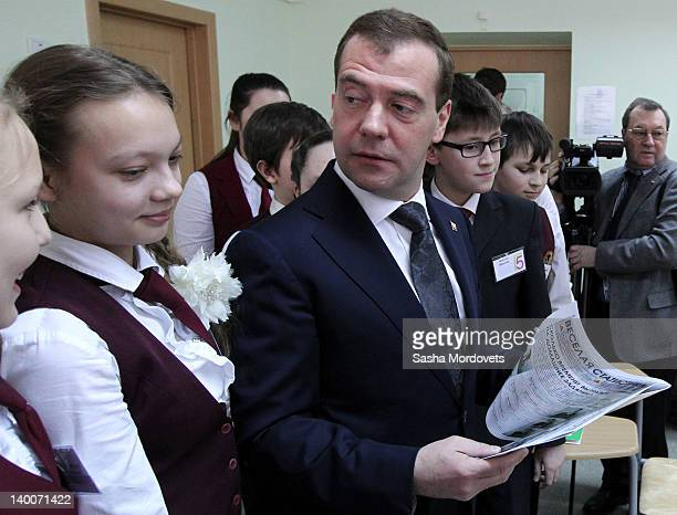 Russian President Dmitry Medvedev visits a secondary school on February 27 2012 in Cheboksary Chuvash Republic 670 km East of Moscow Russia Medvedev...
