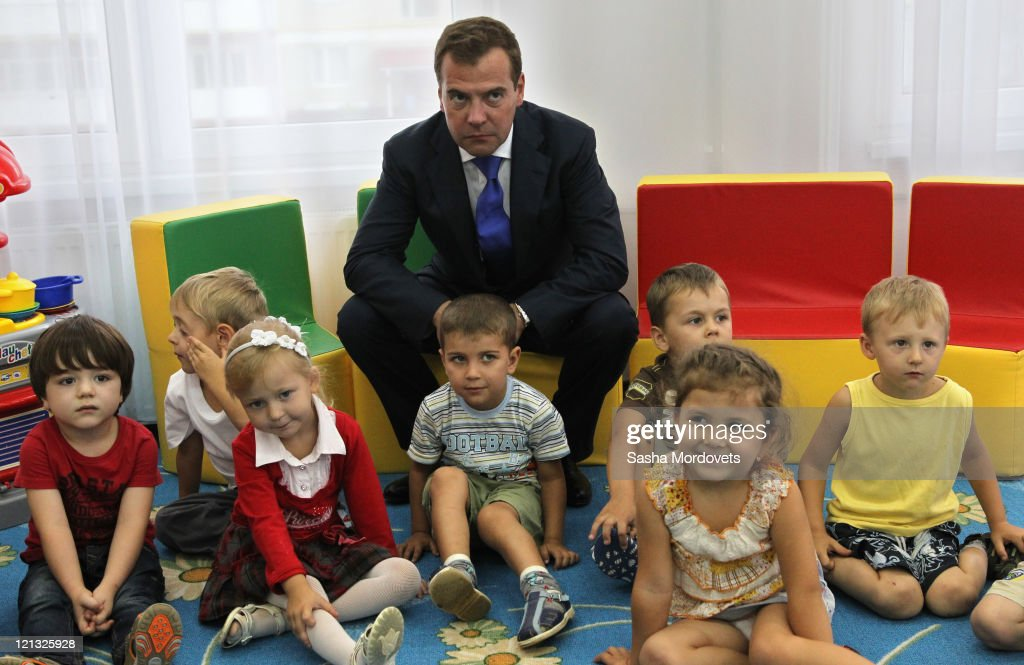 Russian President <a gi-track='captionPersonalityLinkClicked' href=/galleries/search?phrase=Dmitry+Medvedev&family=editorial&specificpeople=554704 ng-click='$event.stopPropagation()'>Dmitry Medvedev</a> visits children in a kindergarten on August 18, 2011 in Maykop, Republic of Adygea, Russia. Medvedev and Prime Minister Vladimir Putin have been travelling the country before deciding which of them will run for president in the upcoming elections.