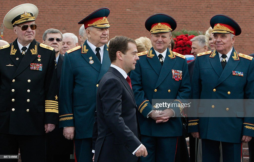 Russian President Dmitry Medvedev walks past WWII veterans during a wreath-laying ceremony at the Tomb of the Unknown Soldier in Moscow on May 8, 2009 in commemoration of those who were killed during WII on the eve of the Victory Day holiday celebrating the end of the war.