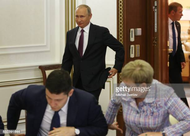 Russian President Vladimir Putiin arrives to the meeting on transport infrastructure development on August 16 2017 in Pionersky Kaliningrad Oblast...
