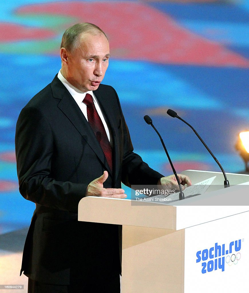 Russian President <a gi-track='captionPersonalityLinkClicked' href=/galleries/search?phrase=Vladimir+Putin&family=editorial&specificpeople=154896 ng-click='$event.stopPropagation()'>Vladimir Putin</a> addresses during the 'One Year To Go Before Sochi Winter Olympic' ceremony at Bolshoi Ice Dome on February 7, 2013 in Sochi, Russia. Sochi Winter Olympics begins on February 7, 2014.