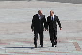 Russian President Vladimir Putin and Belarusian President Alexander Lukashenko arrive at the Great Patriotic War Museum on July 2 2014 in Minsk...