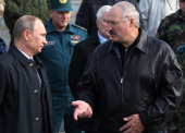 Russian President Vladimir Putin and Belarussian President Alexander Lukashenko attend a joint RussianBelarussian military exercises at the polygon...