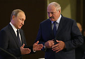 Russian President Vladimir Putin and Belarussian President Alexander Lukashenko seen during the Second Forum of Regions of Russia and Belarus on...