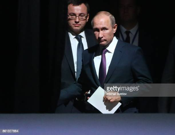 Russian President Vladimir Putin and chief of his protocol Vladislav Kitaev arrive to the openings of 137th InterParliamentary Union Assembly on...