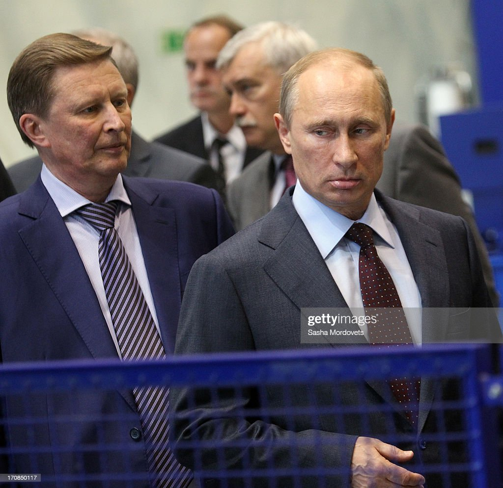 Russian President <a gi-track='captionPersonalityLinkClicked' href=/galleries/search?phrase=Vladimir+Putin&family=editorial&specificpeople=154896 ng-click='$event.stopPropagation()'>Vladimir Putin</a> (C) and Chief of Presidential Administration Sergey Ivanov (L) visit the Obukhov state plant on June 19, 2013 in in Saint Petersburg, Russia. Putin held a meeting at the plant on the development and implementation of military services and equipment.