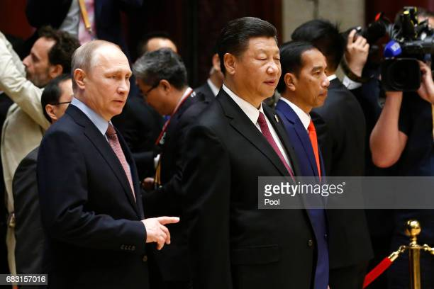 Russian President Vladimir Putin and Chinese President Xi Jinping attend a summit at the Belt and Road Forum on May 15 2017 in Beijing China The Belt...