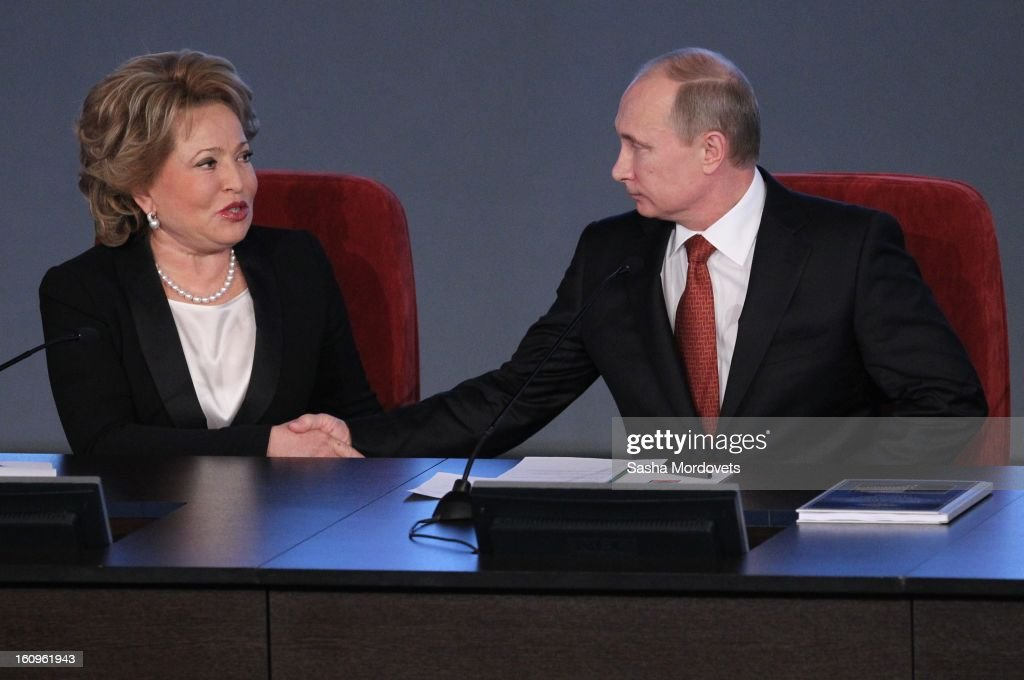 Russian President <a gi-track='captionPersonalityLinkClicked' href=/galleries/search?phrase=Vladimir+Putin&family=editorial&specificpeople=154896 ng-click='$event.stopPropagation()'>Vladimir Putin</a> and Council of the Federation Speaker Valentina Matviyenk attend a meeting with top officers of Russian Interior Ministry on February 8, 2013 in Moscow, Russia. Putin 's meeting comes in the wake of him firing of top Russian Olympic official, Akhmed Bilalov, over incomplete venues for the 2014 Winter Games in Sochi.