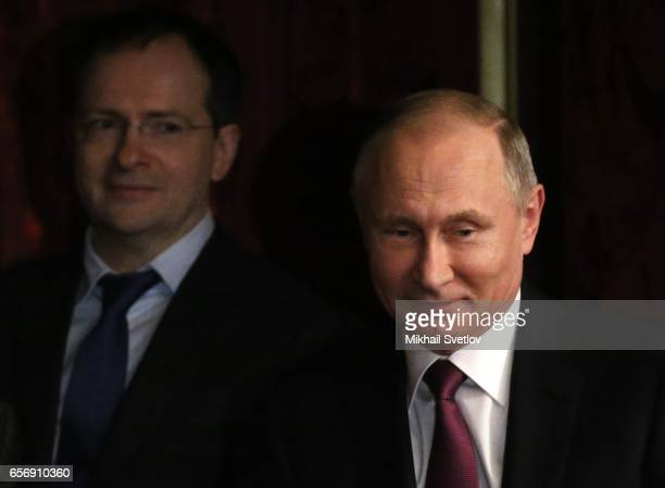 Russian President Vladimir Putin and Culture Minister Vladimir Medinsky visit the Maly Theatre to watch the comedy 'The Last Victim' by Russian...