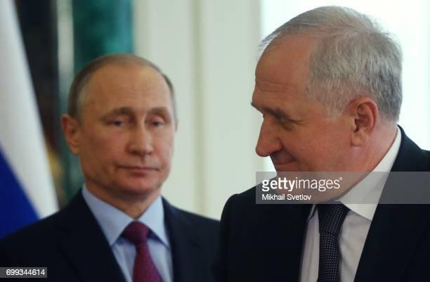 Russian President Vladimir Putin and Feredal Customs Service Chief Vladimir Bulavinov attend RussianBrazilian talks at the Grand Kremlin Palace in...