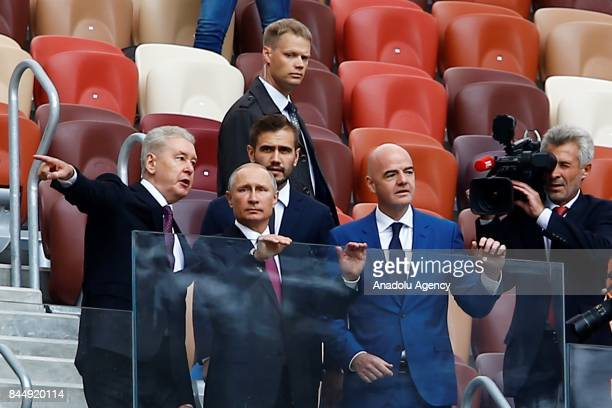 Russian President Vladimir Putin and FIFA President Gianni Infantino attend the official kickoff ceremony for the 2018 FIFA World Cup Trophy Tour at...