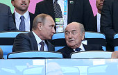 Russian President Vladimir Putin and FIFA President Joseph Blatter attend the 2014 FIFA World Cup Brazil Final match between Germany and Argentina at...