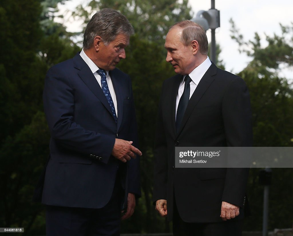Russian President <a gi-track='captionPersonalityLinkClicked' href=/galleries/search?phrase=Vladimir+Putin&family=editorial&specificpeople=154896 ng-click='$event.stopPropagation()'>Vladimir Putin</a> and Finland's President Sauli Niinisto meet at the Kultaranta residence on July 1, 2016 in Naantali, Finland. Putin is having a one-day visit to Finland.