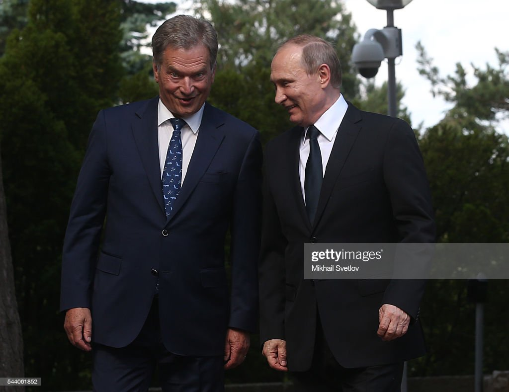 Russian President Vladimir Putin and Finland's President Sauli Niinisto meet at the Kultaranta residence on July 1, 2016 in Naantali, Finland. Putin is having a one-day visit to Finland.