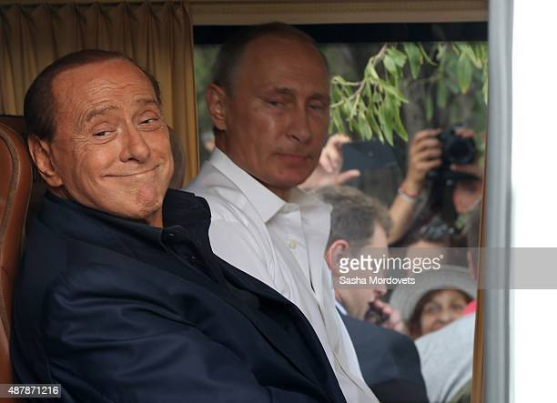 Russian President Vladimir Putin and Former Italian Prime Minister Silvio Berlusconi are seen during joint visit to Chersonesus museum in on...
