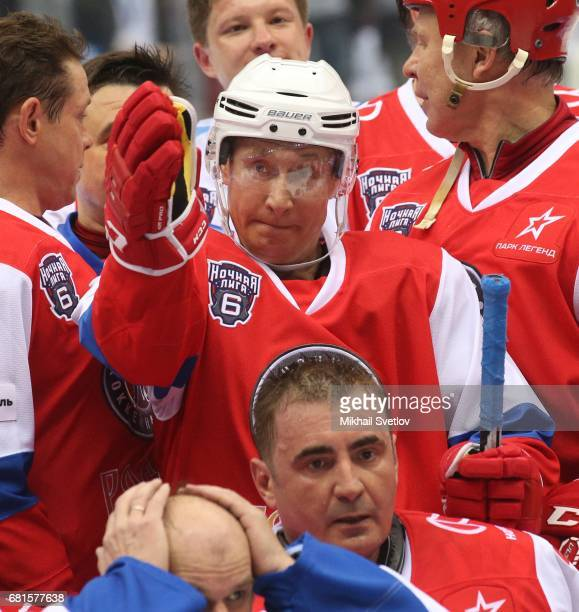 Russian President Vladimir Putin and former NHL players Slava Fetisov and Pavel Bure Tula Governor Alexey Dyumin attend a gala match of the Night...