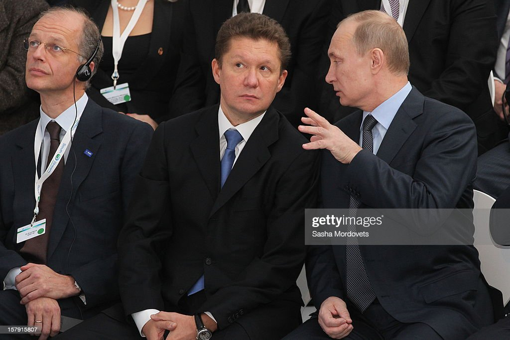 Russian President <a gi-track='captionPersonalityLinkClicked' href=/galleries/search?phrase=Vladimir+Putin&family=editorial&specificpeople=154896 ng-click='$event.stopPropagation()'>Vladimir Putin</a> (R) and Gazprom's CEO <a gi-track='captionPersonalityLinkClicked' href=/galleries/search?phrase=Alexei+Miller&family=editorial&specificpeople=713081 ng-click='$event.stopPropagation()'>Alexei Miller</a> (C) visit a construction site of the South Stream, a proposed gas pipeline December 7, 2012 in Anapa, Russia. The pipeline will trasnsport Russian natural gas through the Black Sea to Bulgaria, Greece, Italy and Austria.