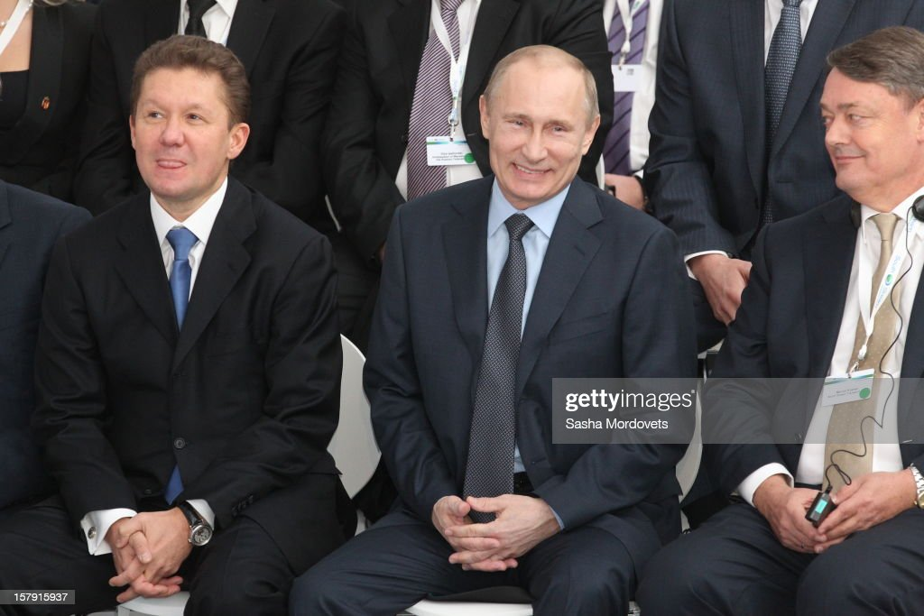 Russian President <a gi-track='captionPersonalityLinkClicked' href=/galleries/search?phrase=Vladimir+Putin&family=editorial&specificpeople=154896 ng-click='$event.stopPropagation()'>Vladimir Putin</a> (C) and Gazprom's CEO <a gi-track='captionPersonalityLinkClicked' href=/galleries/search?phrase=Alexei+Miller&family=editorial&specificpeople=713081 ng-click='$event.stopPropagation()'>Alexei Miller</a> (L) visit the construction site of the South Stream, a proposed gas pipeline December 7, 2012 in Anapa, Russia. The pipeline will transport Russian natural gas through the Black Sea to Bulgaria, Greece, Italy and Austria.