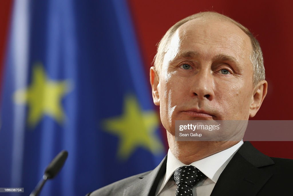 Russian President <a gi-track='captionPersonalityLinkClicked' href=/galleries/search?phrase=Vladimir+Putin&family=editorial&specificpeople=154896 ng-click='$event.stopPropagation()'>Vladimir Putin</a> and German Chancellor Angela Merkel (not pictured) speak to the media after touring the Hannover Messe 2013 industrial trade fair on April 8, 2013 in Hanover, Germany. Merkel and Putin toured the fair, which is the world's largest industry trade fair and has partnered this year with Russia.